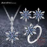 ANFASNI High Quality 925 Sterling Silver Snowflake Shape <b>Jewelry</b> Sets With Blue & Clear Cubic Zirconia Women <b>Jewelry</b> <b>Accessories</b>