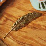 Vintage Feather Brooch Badge 1990's Brass Lapel Pin Handmade Goth <b>Antique</b> <b>Jewelry</b> Accessories