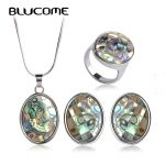 Blucome Classic Abalone Shell <b>Jewelry</b> Sets For Women Lady Party French Hooks Stud Earrings Necklace Ring Set Wedding <b>Accessories</b>
