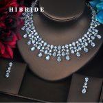 HIBRIDE Luxury Design <b>Jewelry</b> Water Drop Full Z Stone <b>Jewelry</b> Sets For Women Necklace Set Wedding Bride Dress <b>Accessories</b> N-375