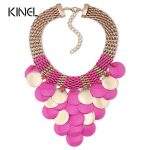 Hot Fashion <b>Jewelry</b> Fluorescent Color Round Sheet Level Tassels Big Necklace For Women Party Exaggerated <b>Accessories</b>