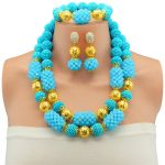 <b>Jewelry</b> Sets Women Wedding Plated Gold 14 Colors Crystal Dress <b>Accessories</b> Lake Blue African Beads Necklace Earrings Bracelet