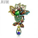 JUJIE Fashion Brooches Multicolor Crystal Flower Brooches Women Scarf Lapel <b>Antique</b> Gold Brooch Pins Plant Corsage <b>Jewelry</b>