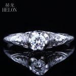 HELON Solid 10K White Gold 4mm Round 0.3ct Genuine Moissanites Vintage <b>Antique</b> Engaged Wedding Ring <b>Jewelry</b> Lady Engagement Ring