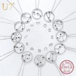 U7 925 Sterling Silver Zodiac Signs Necklaces & Pendants Constellation <b>Jewelry</b> <b>Accessories</b> For Men/Women Birthday Gift SC81