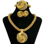 2017 New Fashion Charm Women's <b>Jewelry</b> Crystal Round Pendant Big Necklace Gold <b>Jewelry</b> Set Dubai African Bride <b>Accessories</b>