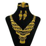 YIWU CZ Sales Fashion African Ladies Necklace Bracelet 24k Gold <b>Jewelry</b> Set Nylon Glamor Bride Gold <b>Jewelry</b> <b>Accessories</b>
