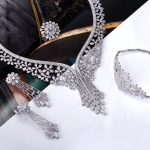 High-end <b>Jewelry</b> Supplier Luxury Bride <b>Accessories</b> Long Big Necklace Drop earrings Flower design CZ Trendy Bridal <b>jewelry</b> sets