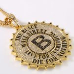 JHNBY High Quality Gold-color gear Round card big B pendants Necklace Fashion Hip hop rock <b>accessories</b> Chain men <b>jewelry</b>