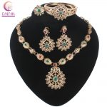 Multicolor Crystal Gold-color <b>Jewelry</b> Necklace Earrings <b>Accessories</b> Fashion Women European African <b>Jewelry</b> Sets