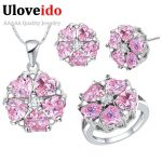 Uloveido Silver Color Flower <b>Jewelry</b> Sets with Pink Stones Wedding <b>Accessories</b> CZ Zircon <b>Jewelry</b> Set 49% Off Women's T560