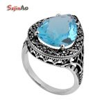 Szjinao Big Promotion Aquamarine Rings for Women <b>Antique</b> Love Infinity Ring 925 Sterling Silver <b>Jewelry</b> Christmas Gift Wholesale