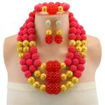 Free Shipping <b>Jewelry</b> Sets For Women Wedding Red African Beads Party Gold Color Crystal Pendant Necklace Earrings <b>Accessories</b>