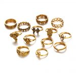 130 Pieces/Set <b>Antique</b> Gold Silver Color Knuckle Rings Set Moon Midi Finger Ring Hollow Elephant Fatima Hand Crystal <b>Jewelry</b>