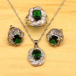 Oval Green Cubic Zirconia White CZ 925 Sterling Silver <b>Jewelry</b> Sets <b>Accessories</b> Women Earrings Pendant Necklace Rings T028