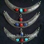 TBP167 Tibetan silver <b>antiqued</b> vintage New Moon pendant amulets,Nepal handmade <b>jewelry</b>