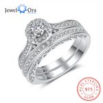 Luxurious Weeding Ring Sets Solid 925 Sterling Silver <b>Jewelry</b> Cubic Zirconia <b>Accessories</b> Rings For Women (JewelOra RI102966)
