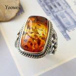 Yoowei Baltic Amber Rings for Unisex Cool Stunning Genuine Natural Amber Stone Trendy <b>Antique</b> Silver <b>Jewelry</b> Punk Wedding Rings