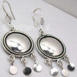 Chanti International SOLID Silver <b>ANTIQUE</b> LOOK ETHNIC Dangle Earrings 5.3 CM New <b>JEWELRY</b> HANDWORK