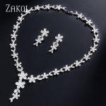ZAKOL Luxury White Flower Shape Full Cubic Zirconia Dubai <b>Jewelry</b> Sets Women Wedding Bride Dress <b>Accessories</b> FSSP054