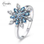 Hemiston Luxury <b>Antique</b> 100% 925 Sterling Silver Blue Snowflakes Rings Micro CZ Brand Rings for Women Wedding <b>Jewelry</b> PAR157