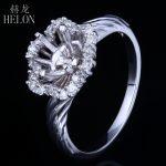 HELON 6-6.5mm Round Solid 10K (417) White Gold Semi Mount Engagement Wedding Natural Diamonds Trendy <b>Art</b> <b>Deco</b> Fine <b>Jewelry</b> Ring