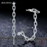 ANFASNI Hot sale Micro Paved Cubic Zircon 925 Sterling Silver Chain Long Wedding Earring For Women <b>Jewelry</b> <b>Accessories</b> T020095-B