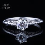 HELON Solid 10K White Gold 0.5ct Test Positive Lab Grown Moissanites Diamond Ring 5mm Round Engagement <b>Art</b> <b>Deco</b> Antique <b>Jewelry</b>
