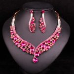Fashion Indian Jewellery Crystal Necklace Earrings Bridal <b>Jewelry</b> Sets Wedding Dress <b>Accessories</b> Costume Decorations for Brides