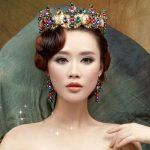 Baroque Colorful wedding hair <b>accessories</b> golden bridal Crown Earrings pearl bridal <b>jewelry</b> sets