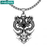 Vintage 316L Stainless Steel Double Dragon Pendant Necklaces For Men Retro Viking Black Stone <b>Antique</b> Rock Party Cool <b>Jewelry</b>
