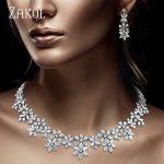 ZAKOL Luxury Sparking Brilliant Zircon Flower Earring Necklace Heavy Dinner <b>Jewelry</b> Set Bridal Wedding Dress <b>Accessories</b> FSSP388