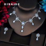 HIBRIDE Beautiful Flower Shape Multicolor CZ Design Women <b>Jewelry</b> Sets Necklace Sets Dress <b>Accessories</b> Wholesale Price N-398