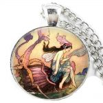 Mermaid <b>art</b> <b>deco</b> necklace , vintage mermaid with octopus <b>jewelry</b> , mermaid charm aqua marine sea <b>jewelry</b>, beach <b>jewelry</b>,handmade