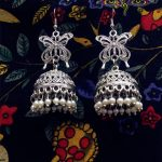 Original India Middle East Afghanistan Handmade <b>Antiques</b> Silver <b>Jewelry</b> Earrings Hollowed Out Butterfly Retro Cage Pearl Earring
