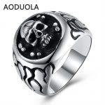 Stainless Steel Skull Punk Ring Big Size rings Retro Vintage Biker Large <b>Antique</b> Men's Rings For Seal men Rock mens <b>Jewelry</b>