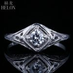HELON Solid 10K White Gold 0.3ct Moissanites Diamond Vintage Antique Fine Wedding Ring <b>Art</b> <b>Deco</b> Solitaire <b>Jewelry</b> Women Ring
