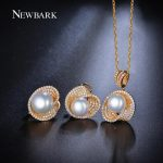 NEWBARK Perlas <b>Jewelry</b> Sets 1 Pair Simulated Pearl Stud Earrings And 1 Shell Necklace For Women <b>Accessories</b> Collares Brinco