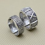 <b>Antique</b> Silver 999 Mens Ring Grid Wheatear Band Handmade Craft Pure Solid Silver 999 Mens <b>Jewelry</b> Resizable Top Quality Bijoux