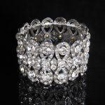 Stunning <b>Art</b> <b>Deco</b> Silver Clear Rhinestones Crystals Stretch Alloy Wedding Bracelet Bridal Bracelet Bridesmaids Women <b>Jewelry</b>
