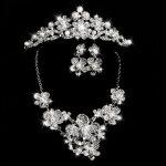 Fahion Bride Classic Rhinestone Crystal Pearl Choker Necklace Earrings Bracelet Crown Wedding <b>Jewelry</b> Sets Wedding <b>Accessories</b>