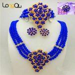 Fashion women Gold-color African Blue Bead <b>Jewelry</b> Set women's wedding <b>jewelry</b> dress bridal <b>accessories</b> earrings necklace ring