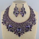 Bridal <b>Jewelry</b> Set Gorgeous Romance purple rhinestone For Brides Necklace Earring Wedding Party <b>Accessories</b> New arrival