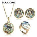 Blucome Classic Wedding <b>Accessories</b> Round Abalone Shell <b>Jewelry</b> Sets Women Necklace Earrings Ring Set Colares Round Brincos Anel