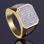 Luxury Full Crystal Big Pure Copper <b>Antique</b> Gold Color Lucky Gold Ring Romantic Zircon Ring For Man/Woman <b>Jewelry</b> Drop Shipping