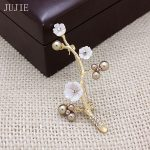 JUJIE Luxury Brand Flower Brooches For Women 2018 Shell Plum Brooch Pins Pearl Female Corsage <b>Antique</b> Gold Color Pant <b>Jewelry</b>