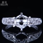 HELON Round Cut 7.5-8mm Solid 10k White Gold Women <b>Jewelry</b> <b>Art</b> <b>Deco</b> Semi Mount Filigree Engraved Engagement Wedding Ring Setting