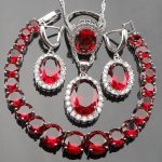 Red Stones White CZ Silver 925 Costume <b>Jewelry</b> Sets Women Necklace Pendant Earrings Rings For Wedding <b>Accessories</b> Free Box