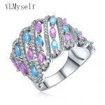 Wonderful big wide ring aneis Blue Pink color zirconia <b>jewelry</b> Luxury <b>Accessories</b> excellent quality jewellery nice women rings
