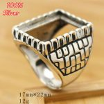100% Sterling Silver 925 <b>Jewelry</b> Adjustable Ring For Man Blank Fit 17x22MM Setting Square Stone <b>Antique</b> Silver Classical